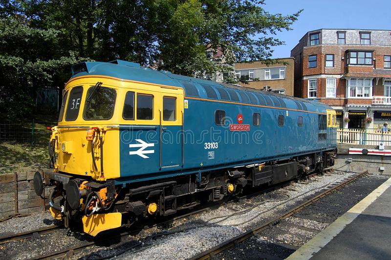 British Rail Locomotive 33103. 33103, Swordfish, photograhed at Swanage. The British Rail Class 33, also known as the BRCW Type 3 or Crompton, of which this is stock images
