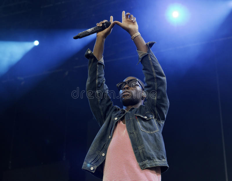 British rapper Tinie Tempah. Performs on August 14, 2011 at On the Beach 2011 Concert in Helsinki, Finland royalty free stock photo