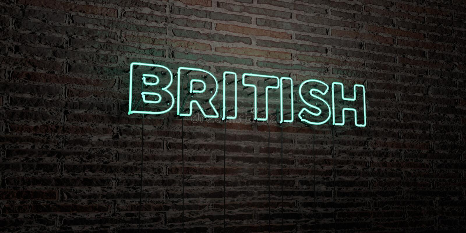 BRITISH -Realistic Neon Sign on Brick Wall background - 3D rendered royalty free stock image royalty free illustration