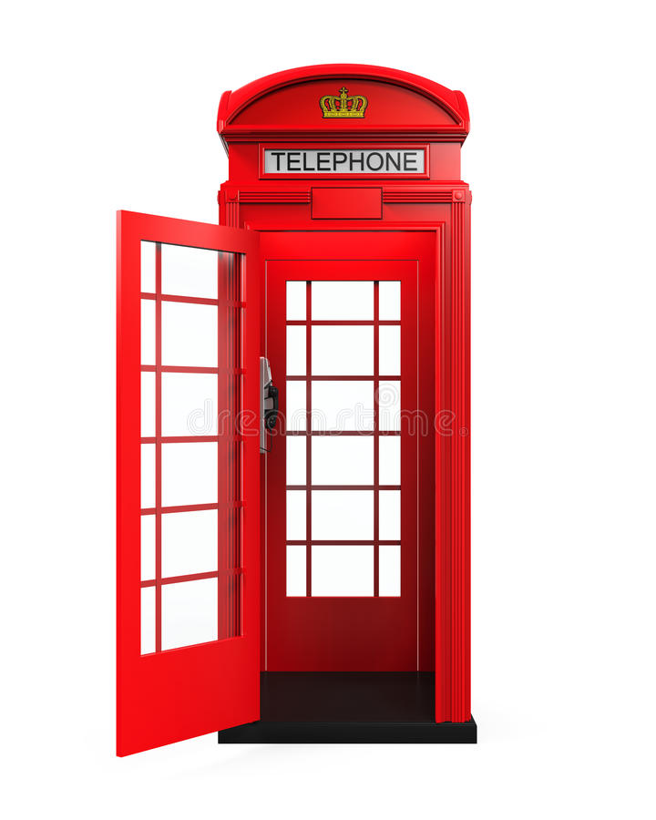British Red Telephone Booth royalty free illustration
