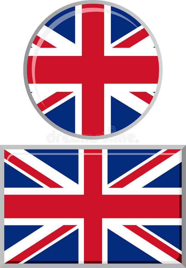 British round and square icon flag. Vector royalty free illustration