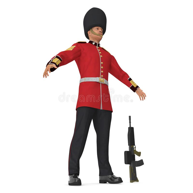 British Royal Guard Soldier Standing Pose Isolated on White Background 3D Illustration stock illustration