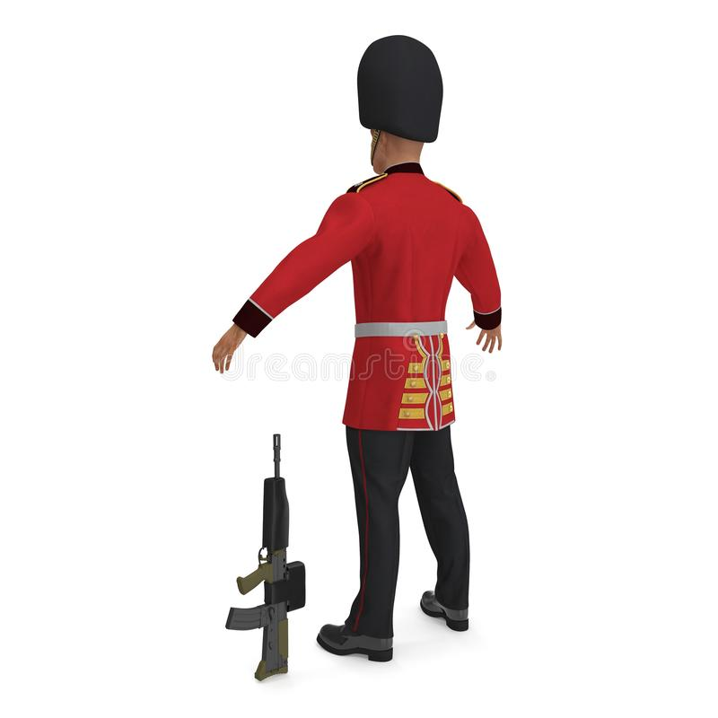British Royal Guard Soldier Standing Pose Isolated on White Background 3D Illustration vector illustration