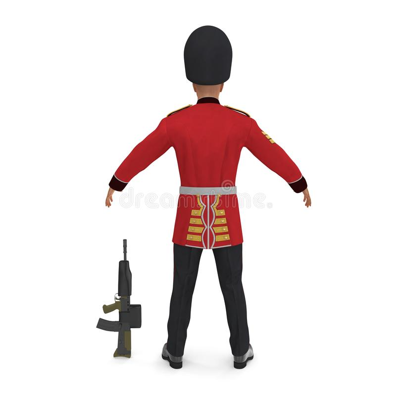 British Royal Guard Soldier Standing Pose Isolated on White Background 3D Illustration royalty free illustration