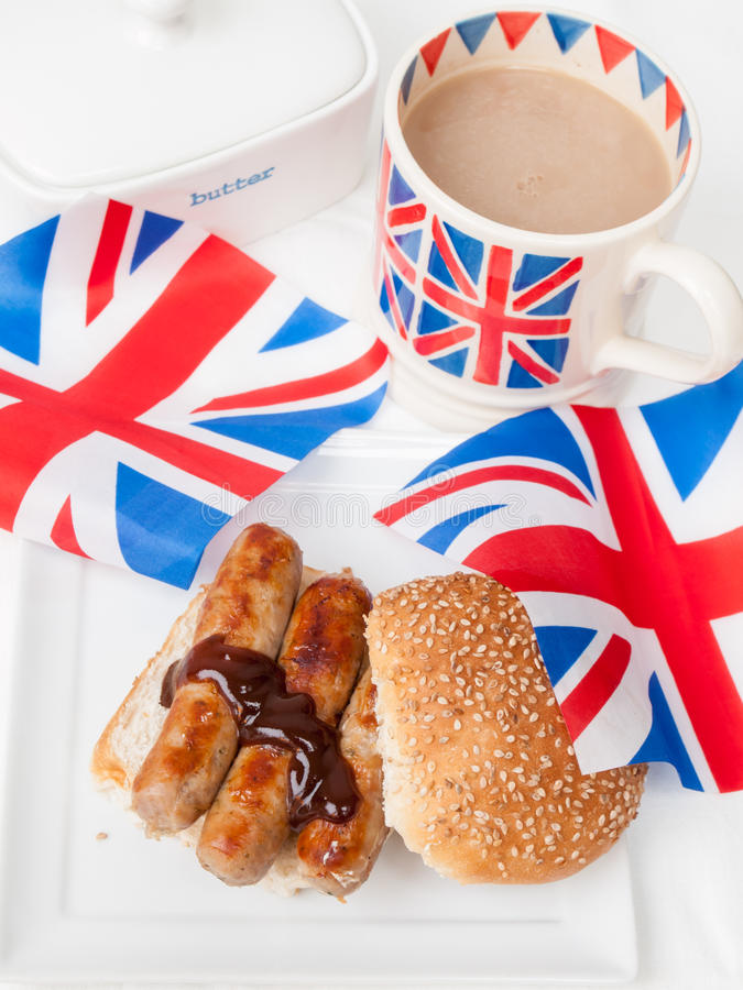 Download British Sausage Sandwich With, Brown Sauce, Cup Of Tea And Flag Stock Image - Image: 38516985