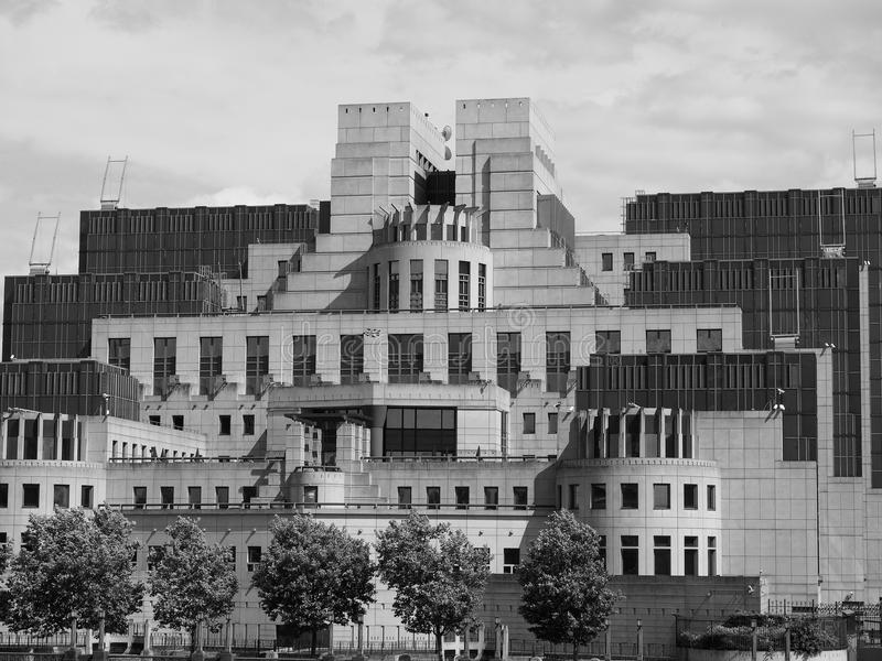 British Secret Service in London black and white. LONDON, UK - CIRCA JUNE 2017: SIS MI6 headquarters of British Secret Intelligence Service at Vauxhall Cross stock photo