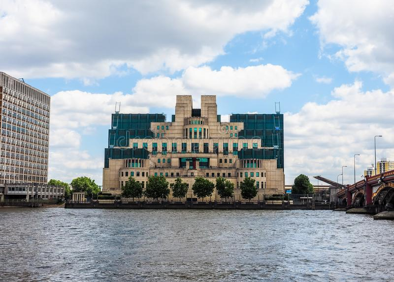 British Secret Service in London, hdr. LONDON, UK - CIRCA JUNE 2017: SIS MI6 headquarters of British Secret Intelligence Service at Vauxhall Cross London, high royalty free stock photo