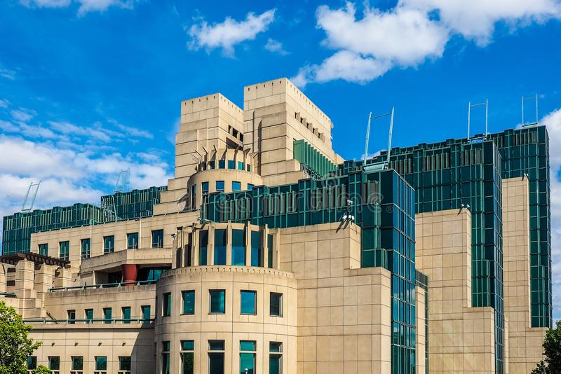 British Secret Service in London (hdr). LONDON, UK - CIRCA JUNE 2017: SIS MI6 headquarters of British Secret Intelligence Service at Vauxhall Cross London (high royalty free stock photography