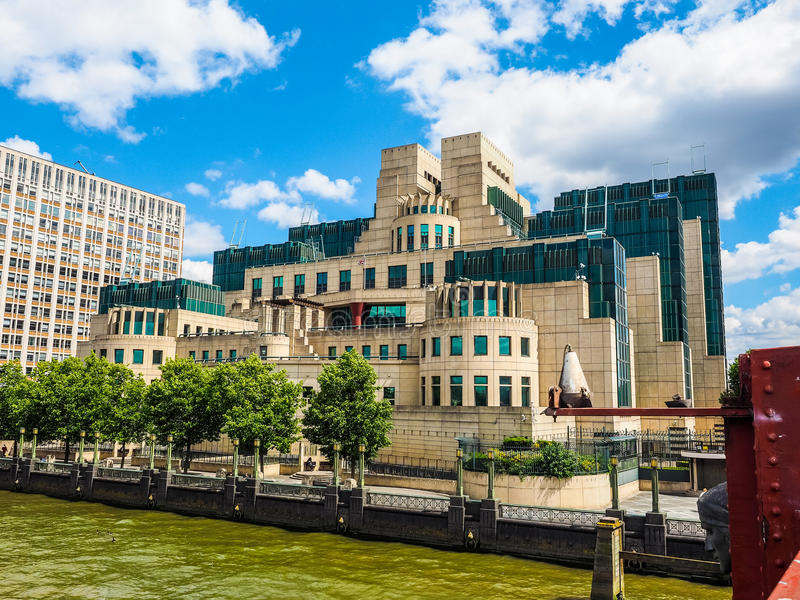British Secret Service in London (hdr). LONDON, UK - CIRCA JUNE 2017: SIS MI6 headquarters of British Secret Intelligence Service at Vauxhall Cross London (high royalty free stock images