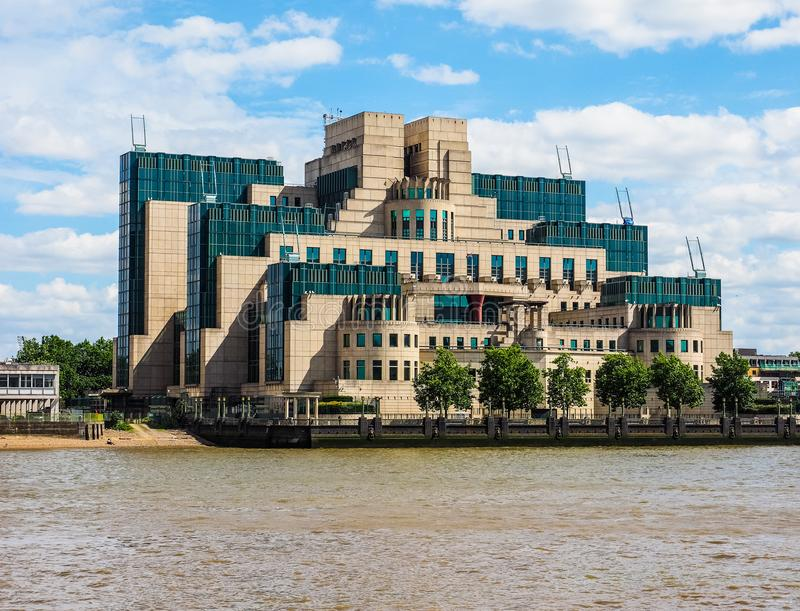 British Secret Service in London (hdr). LONDON, UK - CIRCA JUNE 2017: SIS MI6 headquarters of British Secret Intelligence Service at Vauxhall Cross London (high royalty free stock photo