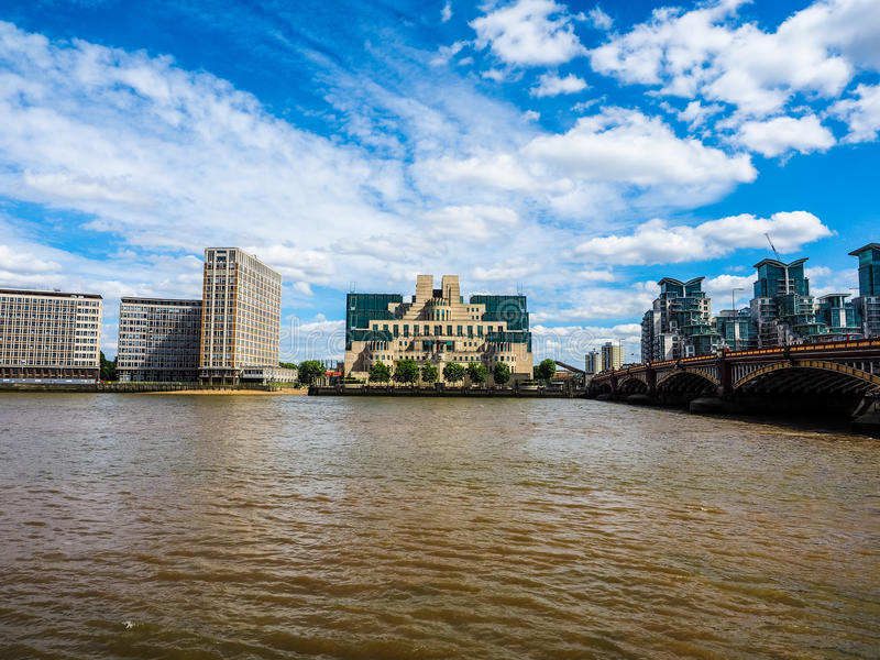 British Secret Service in London (hdr). LONDON, UK - CIRCA JUNE 2017: SIS MI6 headquarters of British Secret Intelligence Service at Vauxhall Cross London (high stock image