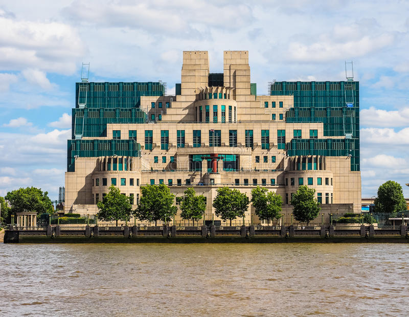 British Secret Service in London (hdr). LONDON, UK - CIRCA JUNE 2017: SIS MI6 headquarters of British Secret Intelligence Service at Vauxhall Cross London (high stock photo