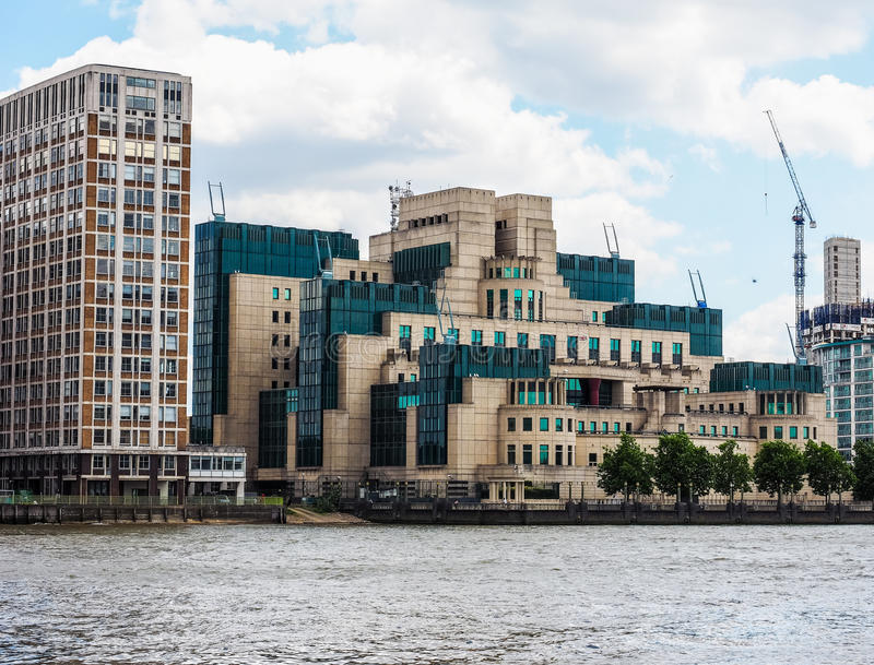 British Secret Service in London (hdr). LONDON, UK - CIRCA JUNE 2017: SIS MI6 headquarters of British Secret Intelligence Service at Vauxhall Cross London (high stock photography