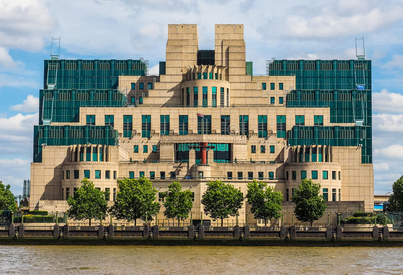 British Secret Service in London (hdr). LONDON, UK - CIRCA JUNE 2017: SIS MI6 headquarters of British Secret Intelligence Service at Vauxhall Cross London (high stock photos