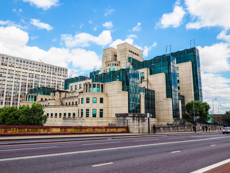 British Secret Service in London (hdr). LONDON, UK - CIRCA JUNE 2017: SIS MI6 headquarters of British Secret Intelligence Service at Vauxhall Cross London (high royalty free stock photos