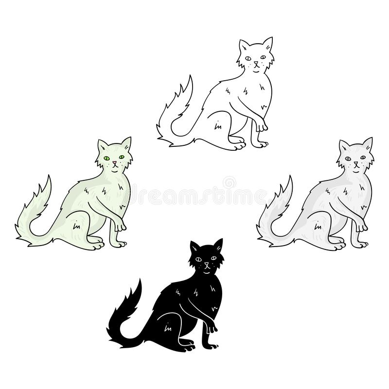 British Semi-longhair icon in cartoon,black style isolated on white background. Cat breeds symbol stock vector royalty free illustration