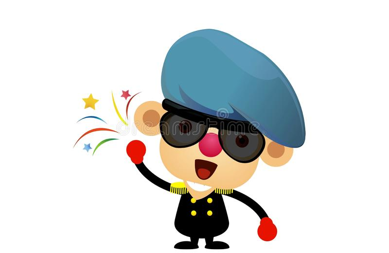 British soldier with hat .kid wearing solider costumes . cartoon character design on white background. Army, logo, creative, cute, happy, flat, icon, black stock photos