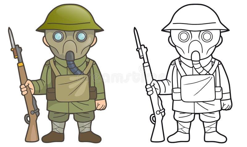 British soldier during World War one. Cartoon British soldier during World War one royalty free illustration