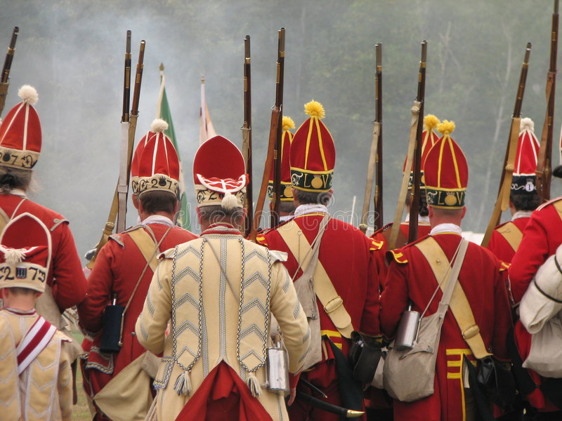 British Soldiers Marching stock photo