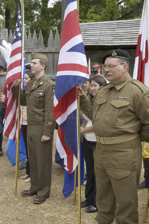 British Solider reenactors. National World War II American and British Solider reenactors who symbolize the Special Relationship between England and America stock photos