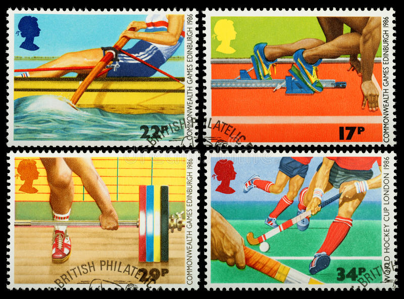 British Sporting Postage Stamp. British Postage Stamps showing Edinburgh Commonwealth Games Sports, circa 1986 royalty free stock photos
