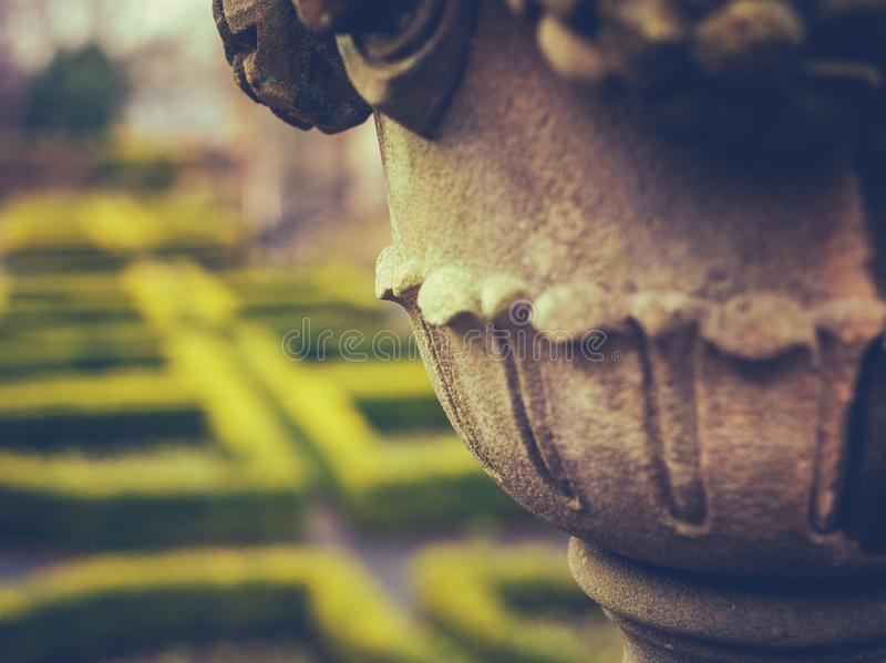 British Stately Home Detail. Detail Of A Garden Ornament And Maze At A Stately Home Or Mansion In The UK With Copy Space royalty free stock photos