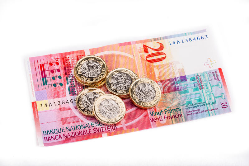 British and Swiss currency stock photography