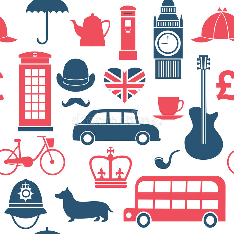 British Symbols Seamless Pattern Stock Vector Illustration Of