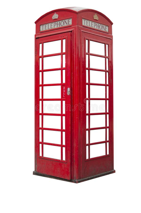 A British telephone booth isolated on white background. British telephone booth isolated on white background royalty free stock photos