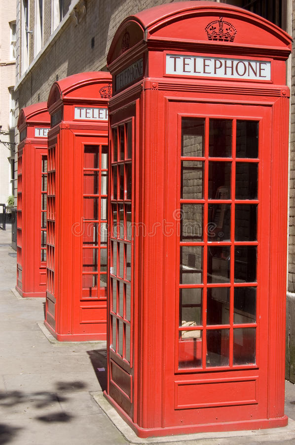 Download British Telephone Boxes stock image. Image of threesome - 14580407