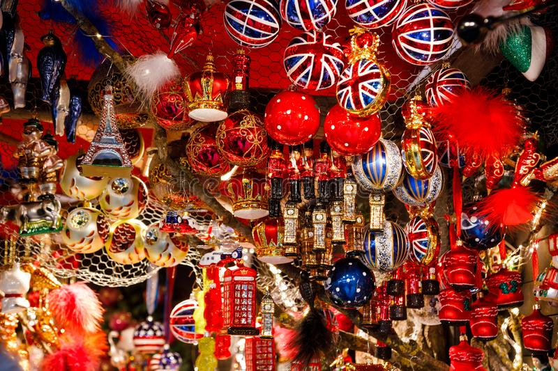 British themed Christmas decorations for sale at Christmas market stall in Berlin Germany. British themed glass Christmas tree decorations for sale at Christmas royalty free stock photography