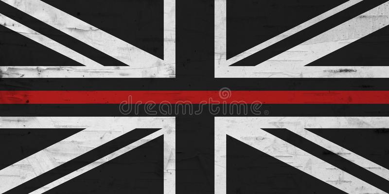 British thin red line flag with grunge texture stock illustration