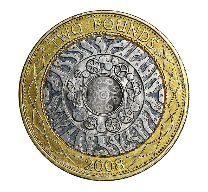 British two pound coin. The British two pound coin was introduced to reduce the cost of printing paper money. The design celebrates technological achievement stock photos