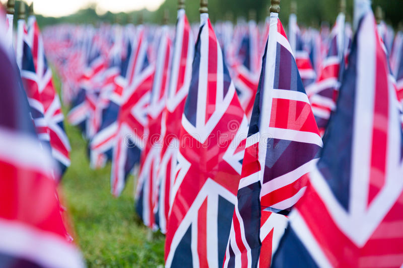 British United Kingdom UK Flags in a row with front focus and the further away symbols blurry with bokeh. The flags were set up on stock photography