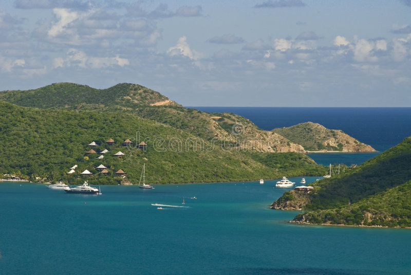 British Virgin Islands. A yacht club at the north end of Island Virgin Gorda, British Virgin Islands stock photos