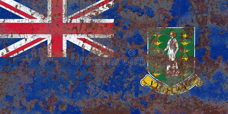 British Virgin Islands grungeflagga, brittiska utländska territorier royaltyfri bild