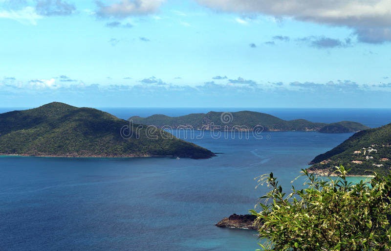 British Virgin Islands. Scenery showing mountain islands and blue water and sky in the British Virgin Islands royalty free stock image