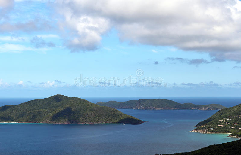 British Virgin Islands. Scenery showing mountain islands and blue water and sky in the British Virgin Islands royalty free stock photography