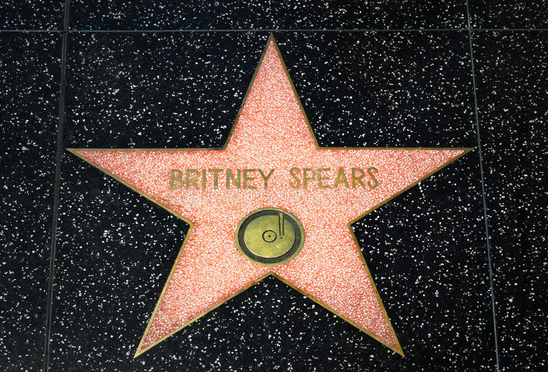 Britney Spears Star on the Hollywood Walk of Fame. HOLLYWOOD, CA/USA - APRIL 18, 2015: Britney Spears star on the Hollywood Walk of Fame. The Hollywood Walk of royalty free stock photo