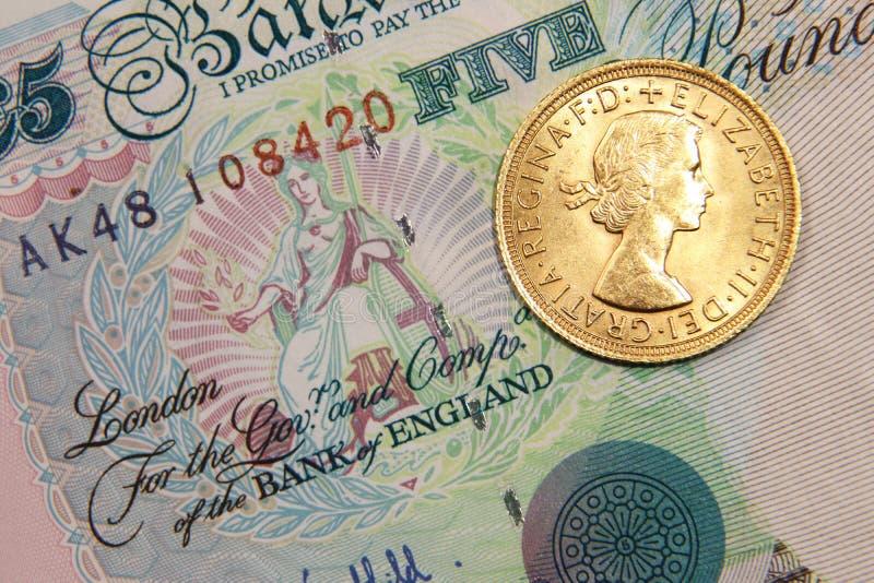 Brits bankbiljet met Één Brits pond Sterling gouden, oud type, 1964 royalty-vrije stock afbeelding