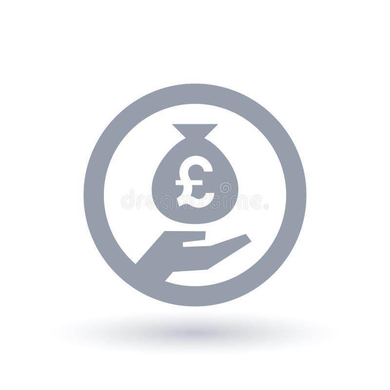Brits de zak in hand symbool van het Pondgeld - de munt van Groot-Brittannië bankin vector illustratie
