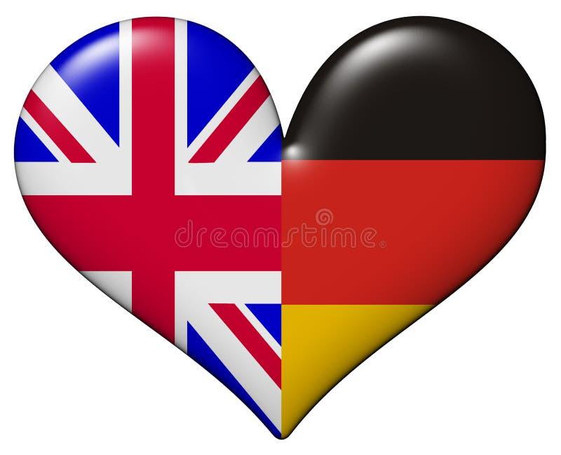 Brits en Duits hart stock illustratie