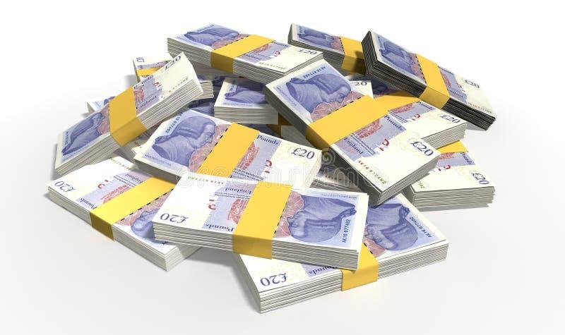 Brits Pond Sterling Notes Scattered Pile royalty-vrije stock foto's