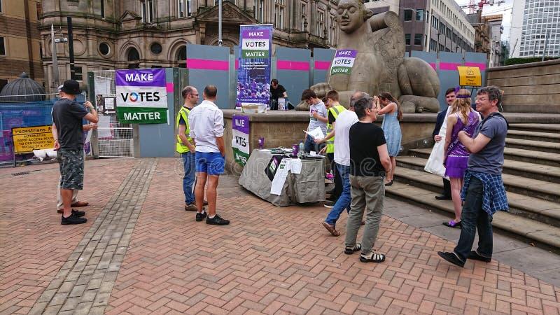 Brits stemrecht Birmingham stock foto's