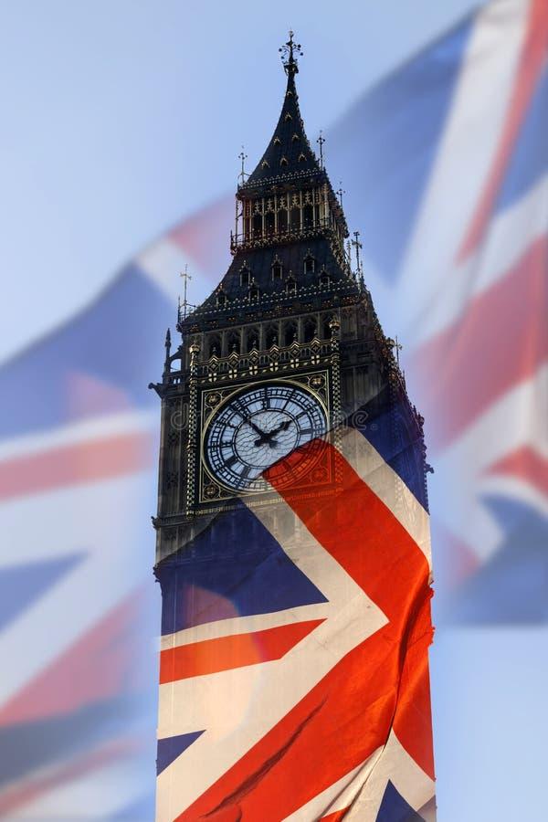 Brits vlag en Big Ben stock afbeelding