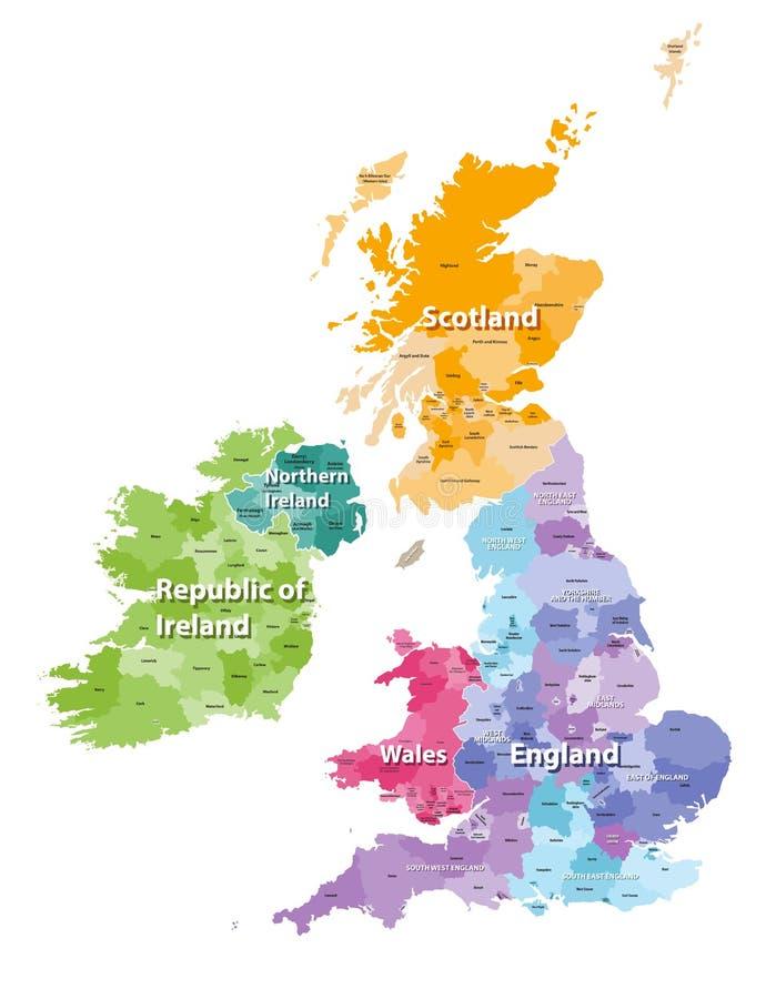 Britse die Eilandenkaart door landen en gebieden wordt gekleurd vector illustratie