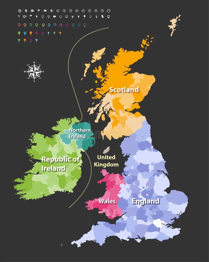 Britse die Eilandenkaart door landen wordt gekleurd Vector royalty-vrije illustratie