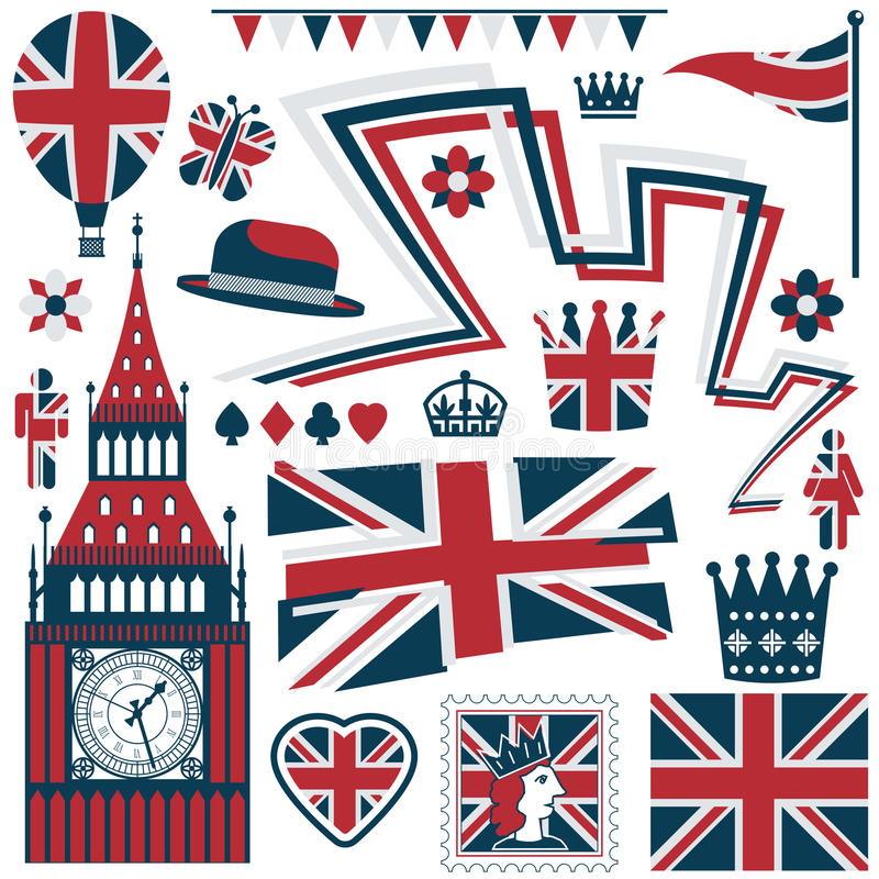 Britse elementen stock illustratie