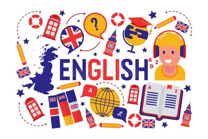 Britse engelstalige het leren klassen vectorillustratie Brits vlagembleem, Engeland, woordenboek, Big Ben, meisjes royalty-vrije illustratie