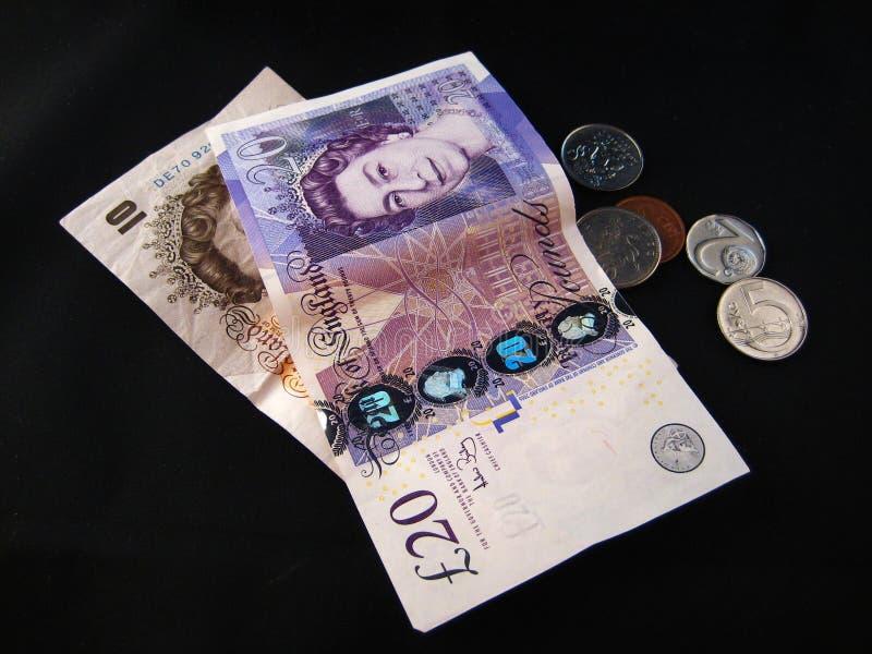 Britse geld en Euro stock afbeelding